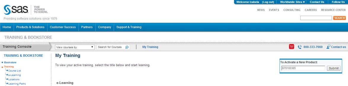 Jak aktywować kurs SAS on-line?