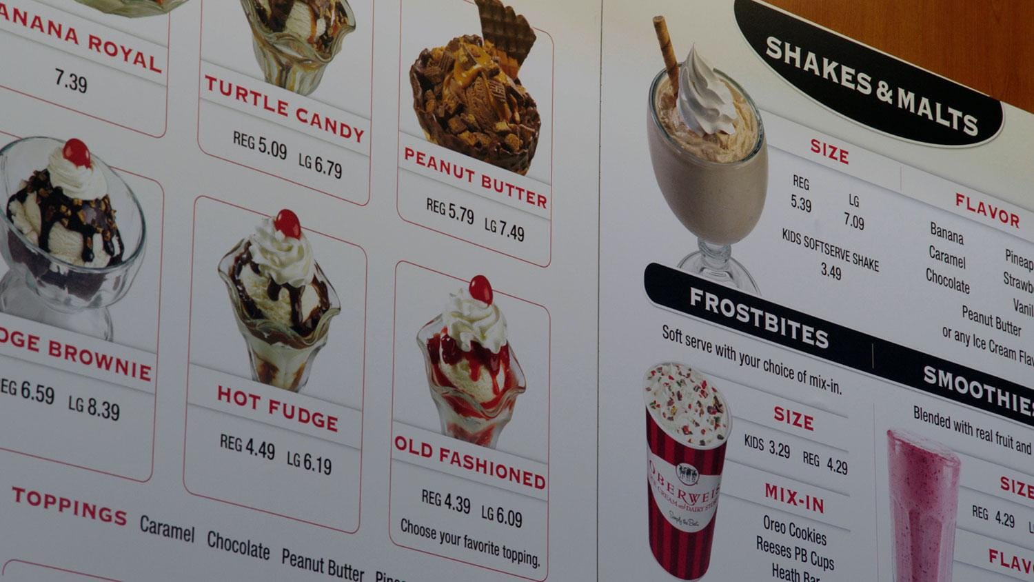 Close-up of Oberweis icecream menu board