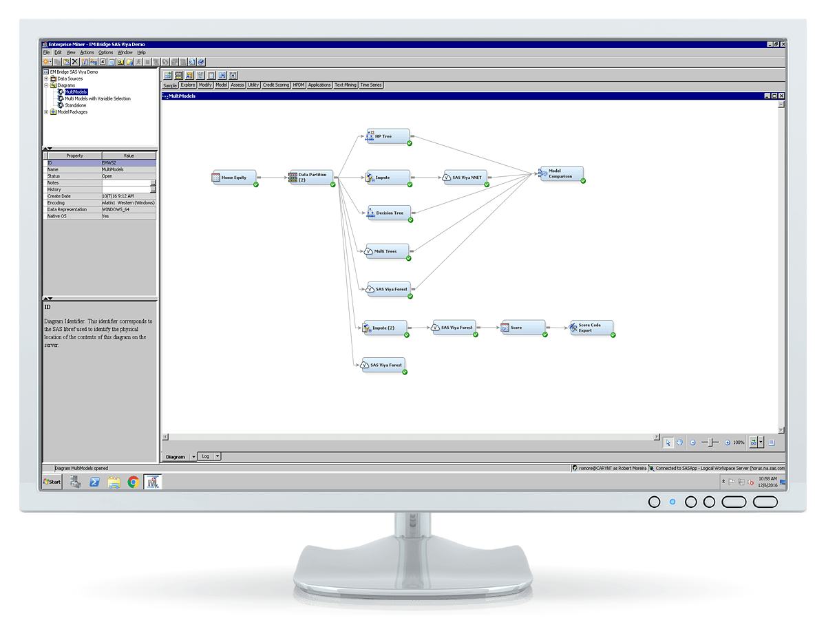 SAS Enterprise Miner screenshot showing process flow