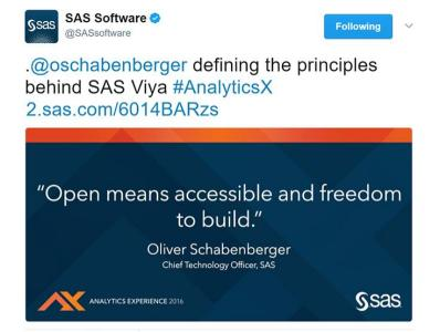 SAS Software tweet about Viya