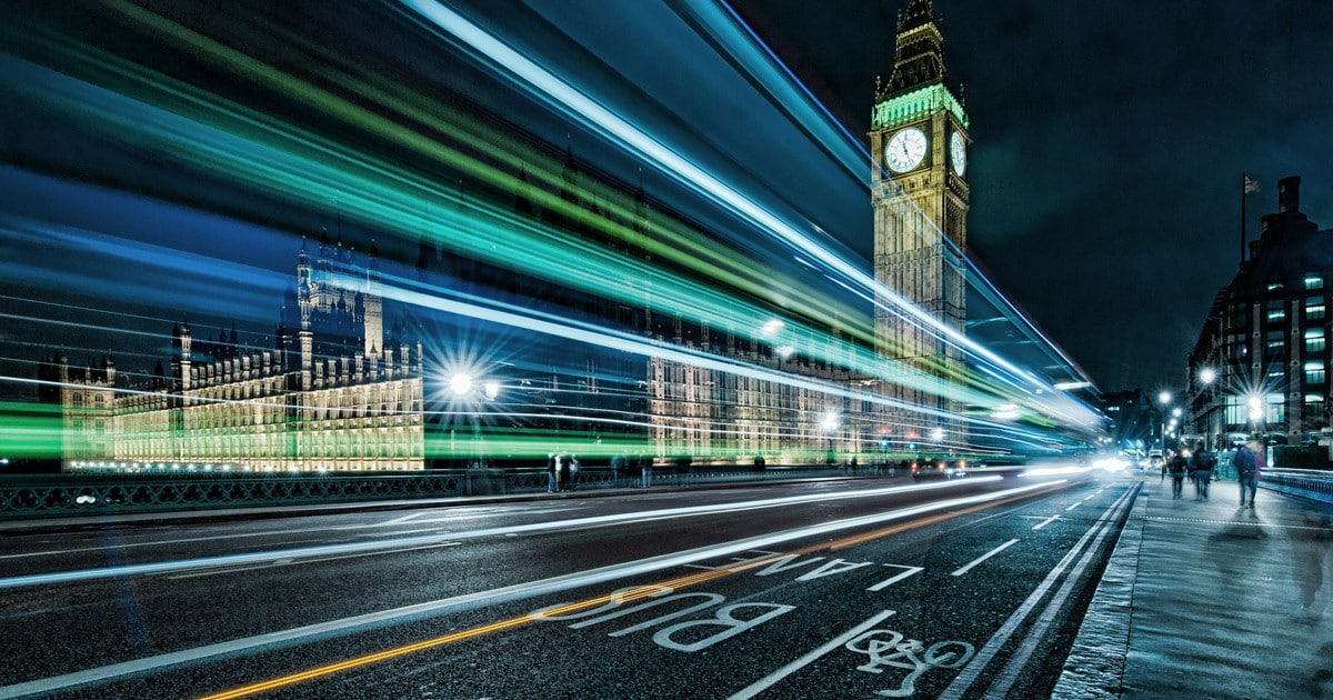 Bus stop with light trails