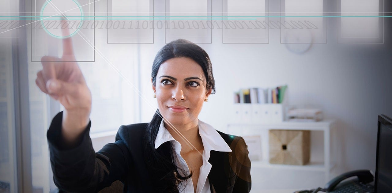 Business woman using touchscreen