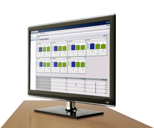 SAS Inventory Optimization Workbench shown on desktop monitor