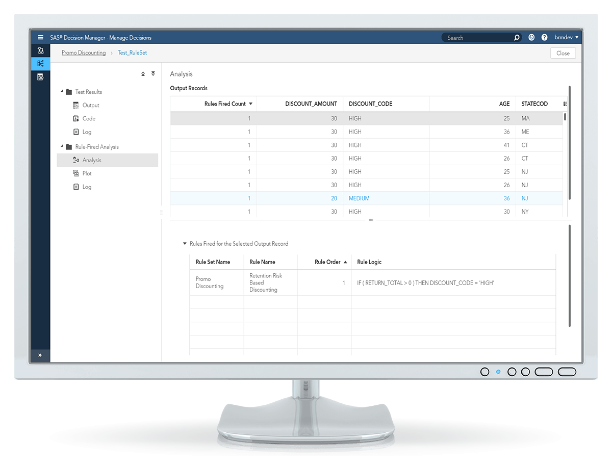 SAS Decision Manager showing rule test output on desktop monitor