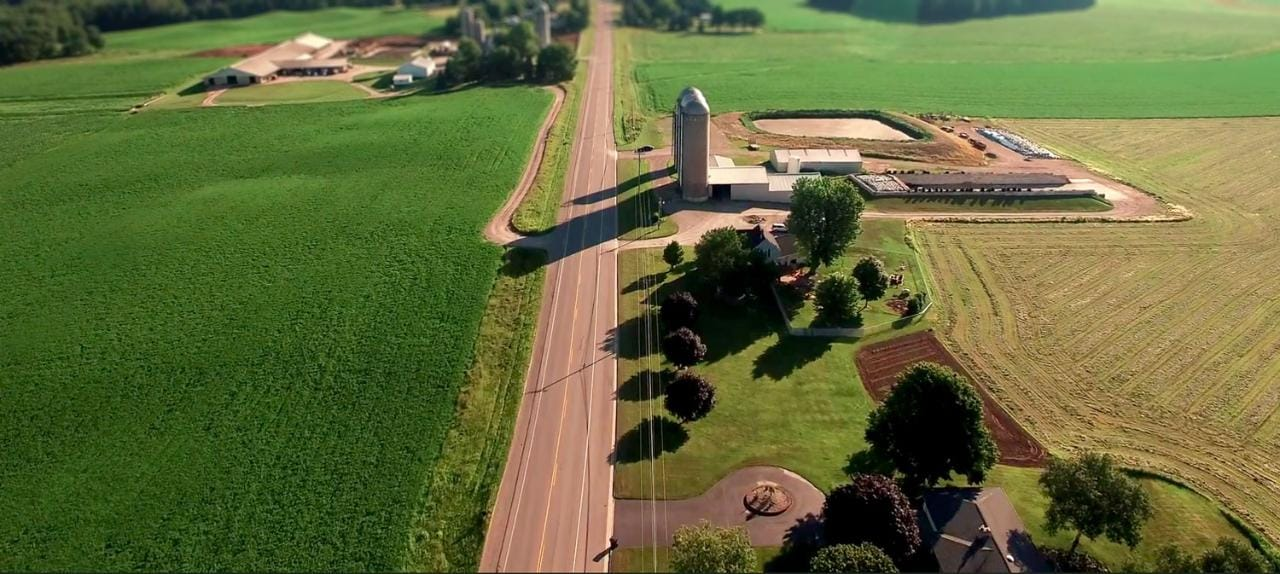 Aerial view of Oberweis farm