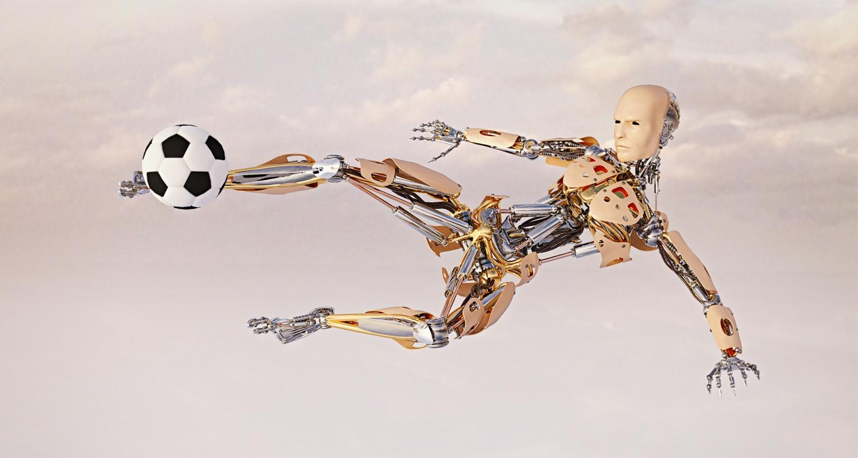 Robot kicking soccer ball