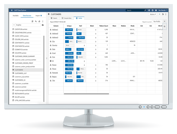 SAS Data Preparation showing data sources profile data on desktop monitor