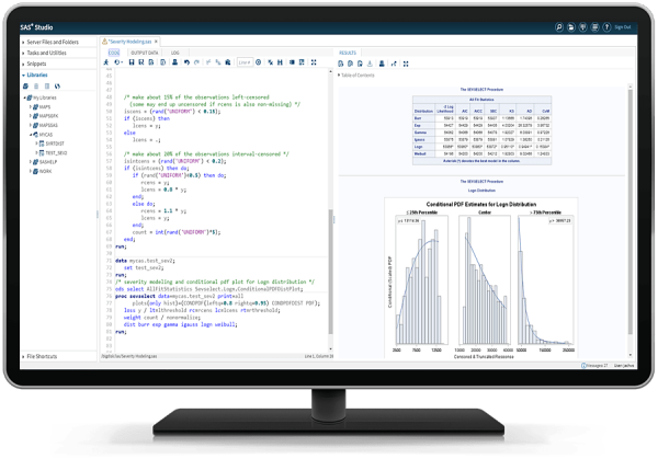 SAS Econometrics showing severity plots on desktop monitor