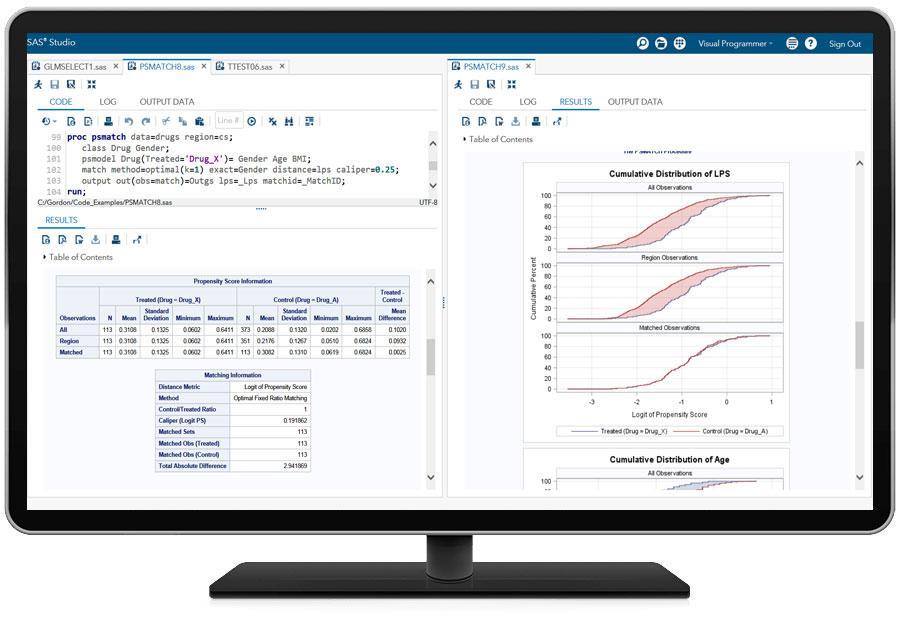 Education Analytical Suite showing SAS/STAT on desktop monitor