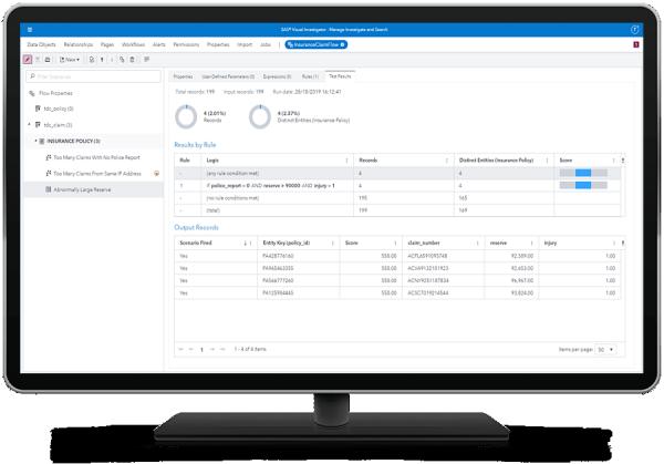 SAS Visual Investigator scenario administration test report shown on desktop monitor