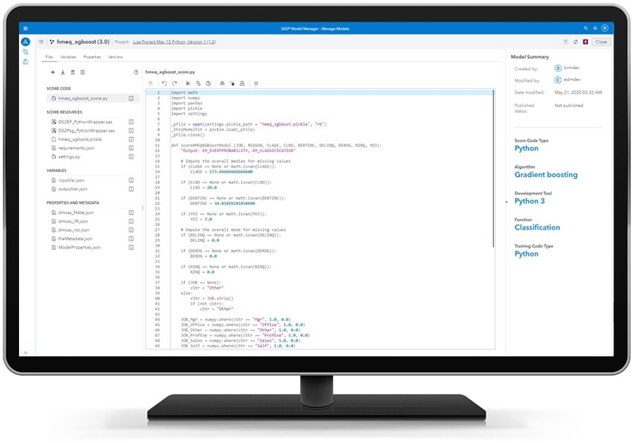SAS Model Manager - Automatically Create Executable Score Code For Python Models on Desktop Monitor