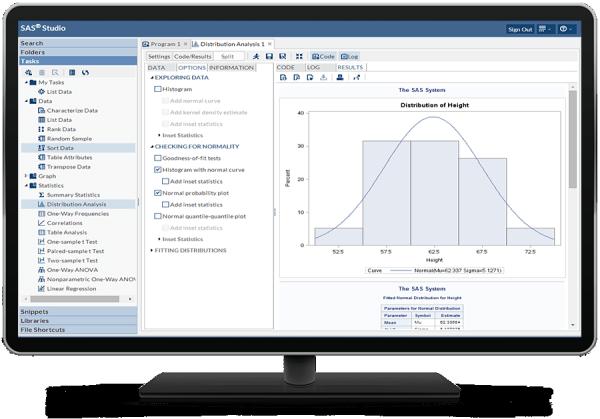 SAS Studio interface on desktop monitor