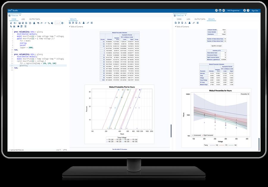SAS/QC® Software Screenshot for Assessing Product Reliability