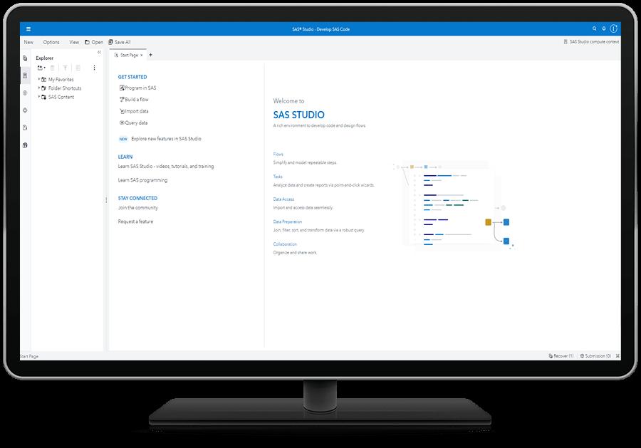 SAS Studio showing tasks on desktop monitor