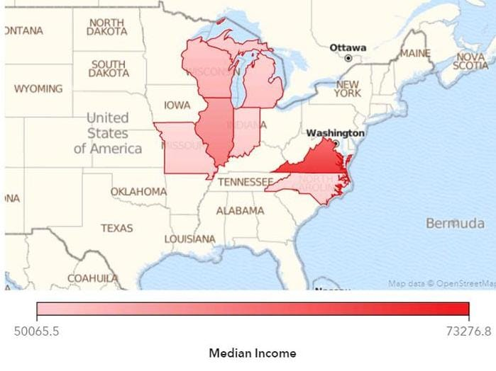 Oberweis Median Income map and bar chart