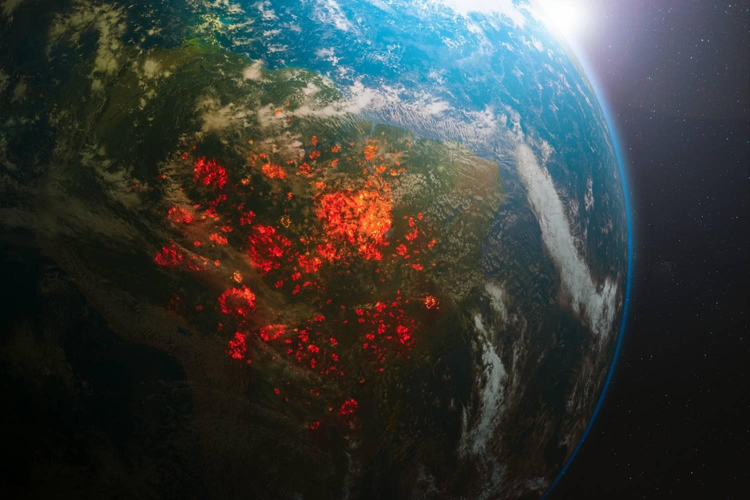 rainforest fires shown on earth from space