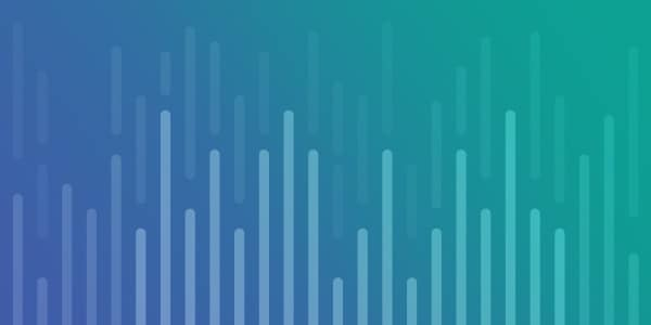Violet to aqua gradient with bar chart illustration