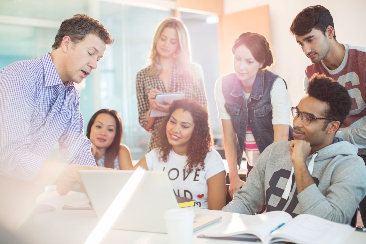 Group of college students in a collaborative setting