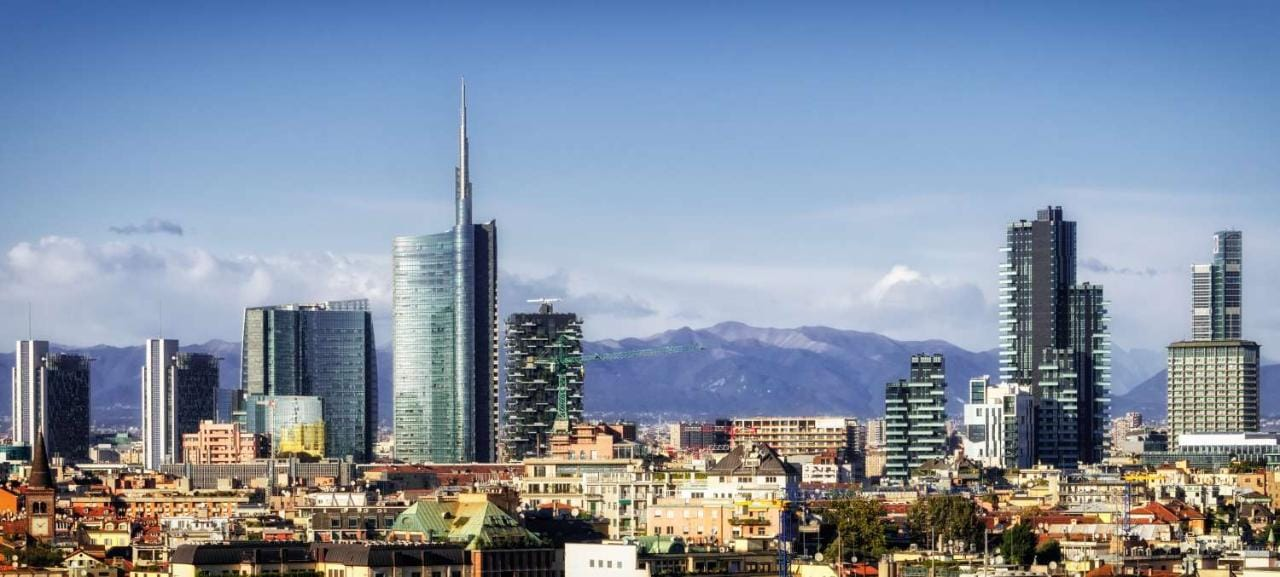 City of Milan skyline with new skyscrapers