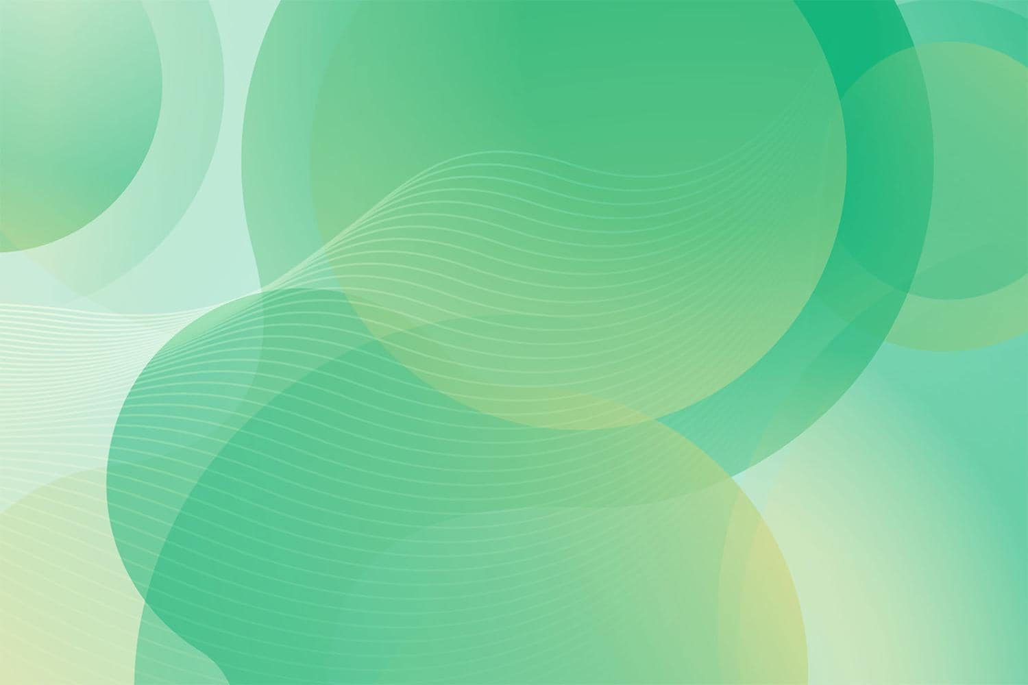 Green Background with Circles and waves in transparency