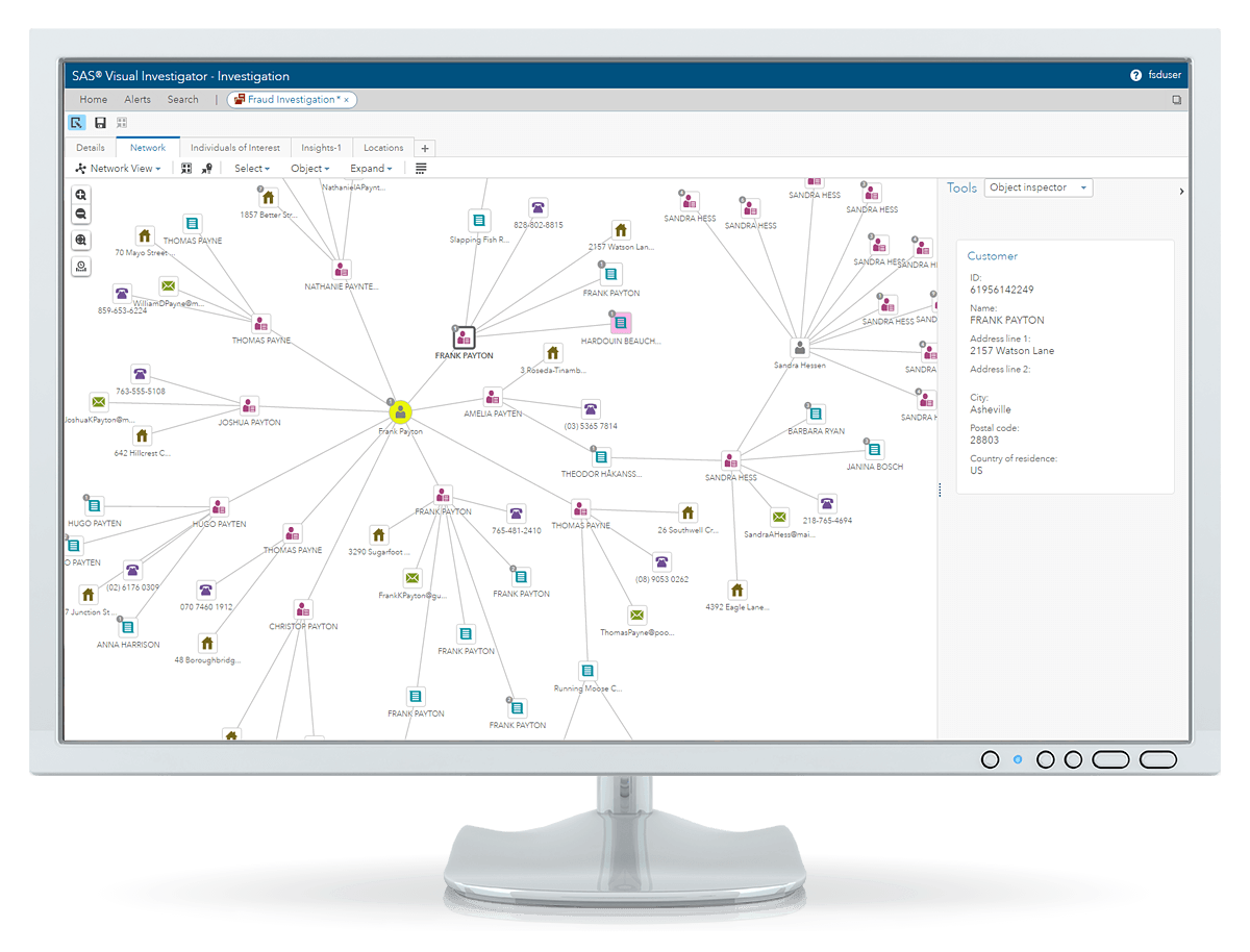SAS Detection and Investigation for Government showing network linkages on desktop monitor