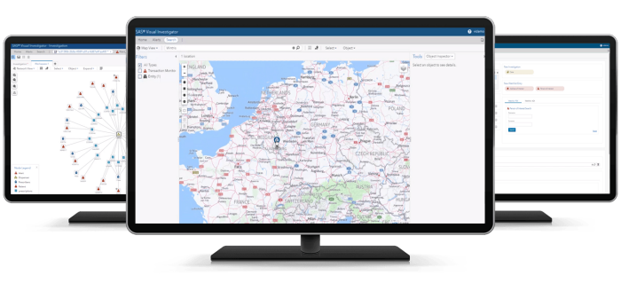 SAS Detection and Investigation shown on three desktop monitors