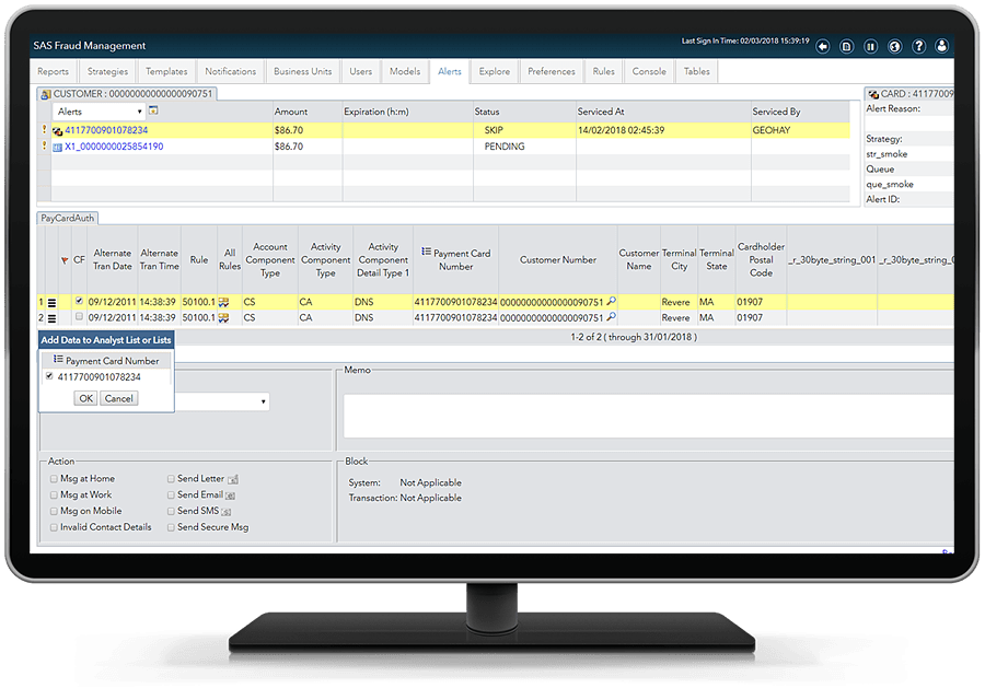 SAS Fraud Management - alert servicing
