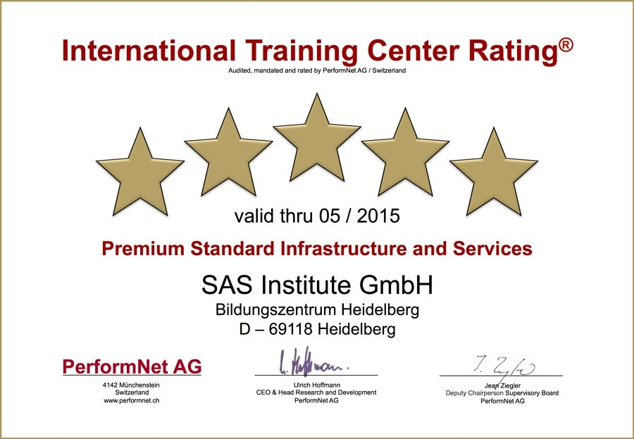 International Training Center Rating: Premium Standard Infrastructure and Services - SAS Institute GmbH