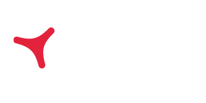 Atradius logo with red mark and white text and tagline