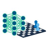 Grafische Darstellung von Schachbrett und neuronalem Netzwerk
