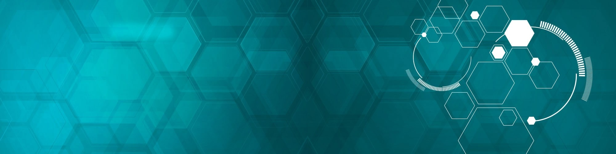 Teal abstract honeycomb background with white line art overlay