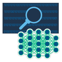 Grafische Darstellung von Binärcode auf dunklem Hintergrund mit Lupe