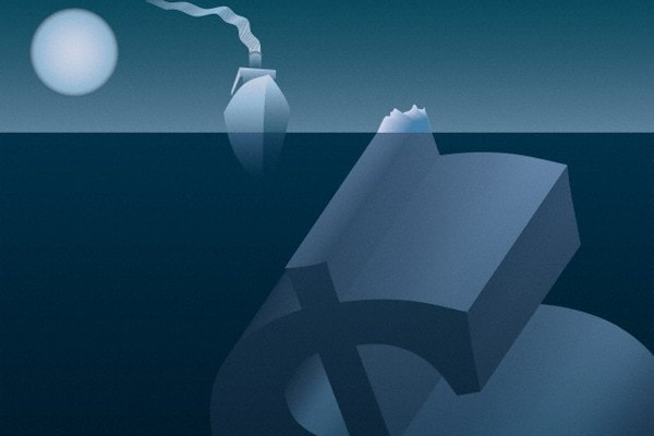 ship and sinking dollar sign
