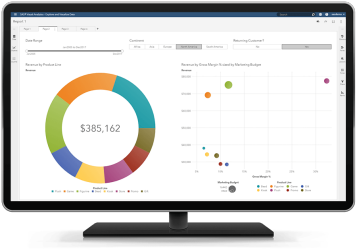 SAS Business Analytics interactive reporting and dashboard shown on desktop monitor