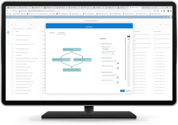 SAS Intelligent Planning Suite showing the inside of a process flow on desktop monitor