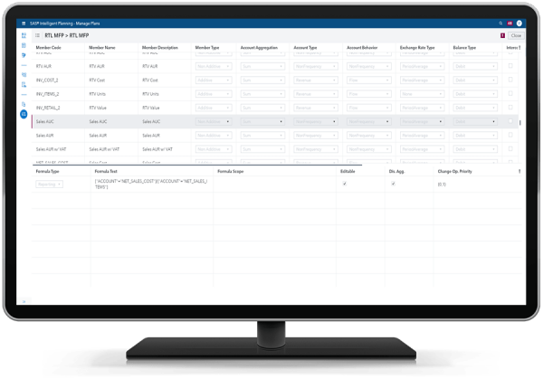 SAS Intelligent Planning Suite showing ability to view calculations that are driving planning on desktop monitor