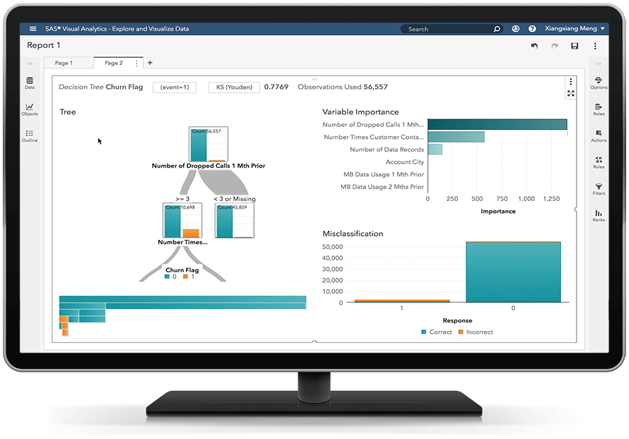 SAS Visual Statistics on SAS Viya showing a decision tree on a desktop monitor