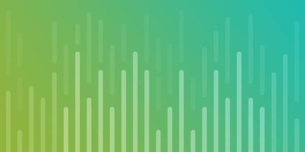Green to teal gradient with bar chart illustration