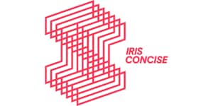 Iris Concise logo in red on white background in horizontal format