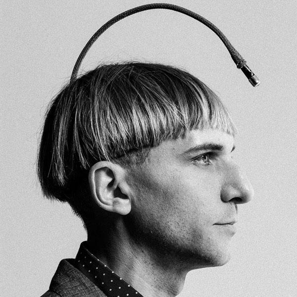 Neil Harbisson portrait in black and white