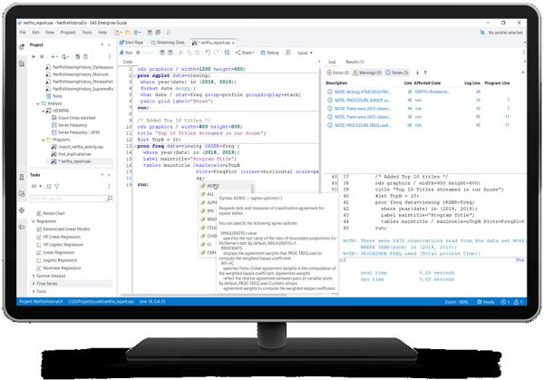 SAS Enterprise Guide showing syntax query on desktop monitor
