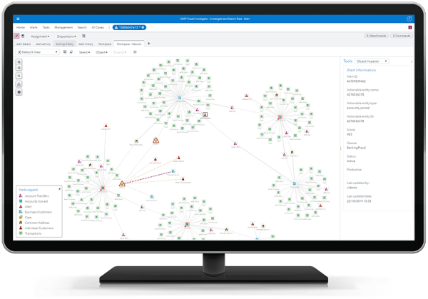 SAS Visual Investigator showing network view on desktop monitor