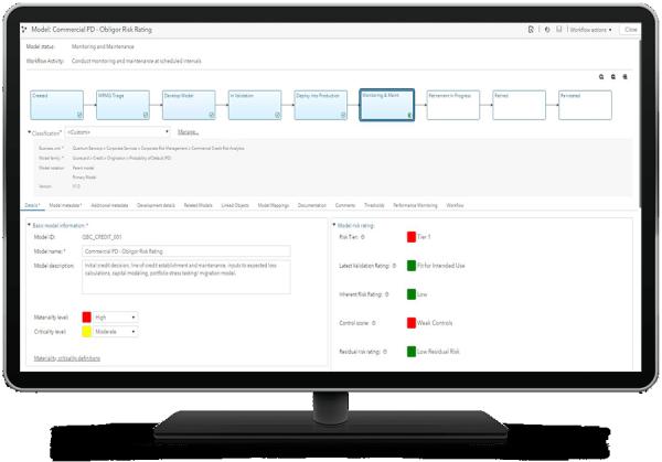 SAS Model Risk Management showing model object on desktop monitor