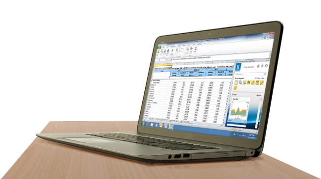 SAS Office Analytics for Midsize Business shown on laptop