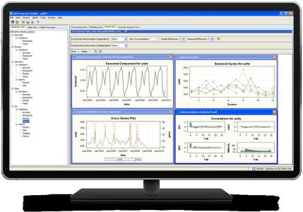 SAS Forecast Server shown on desktop monitor