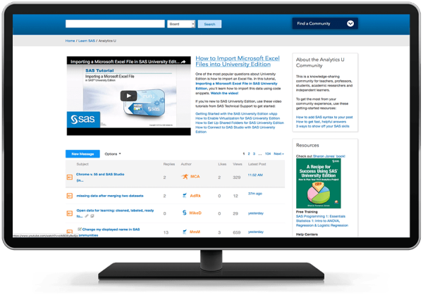 SAS Analytics U online community shown on desktop monitor