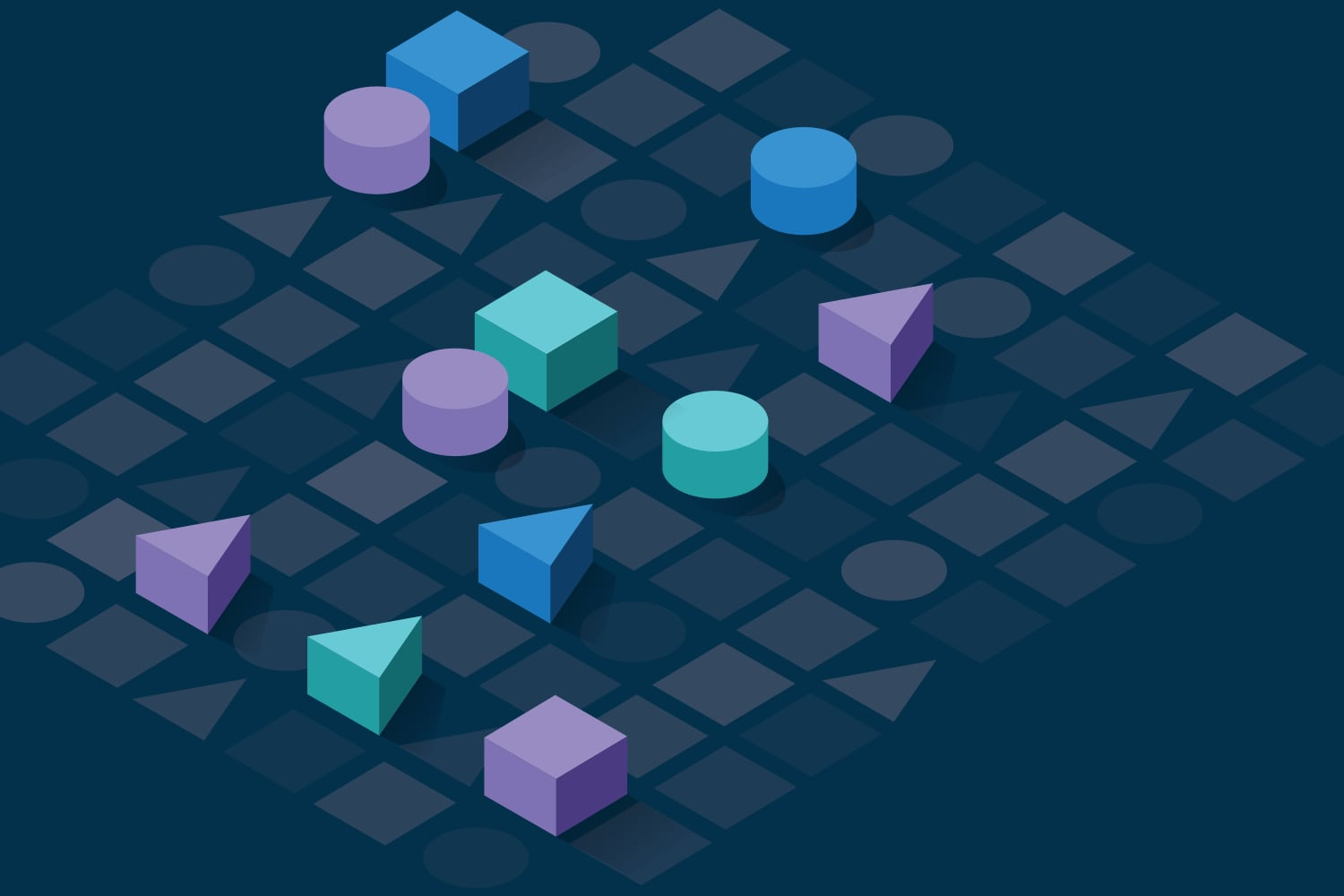 Cubes, cylinders and triangles on a three dimensional grid
