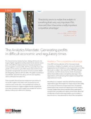 The Analytics Mandate: Generating profits in difficult economic and regulatory times