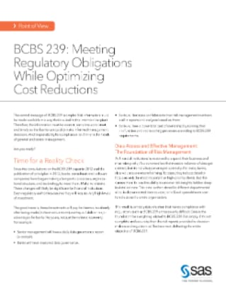 BCBS 239: Meeting Regulatory Obligations While Optimizing Cost Reductions