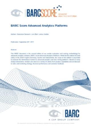 BARC Score Advanced Analytics Platforms, BARC Score: Advanced Analytics Platforms
